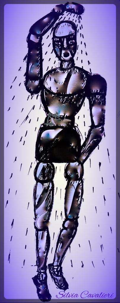 Doccia robotica metallo fondo viola