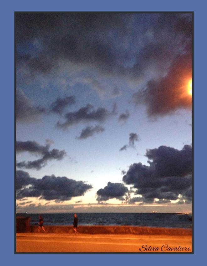 tramonto di strada cornice blu