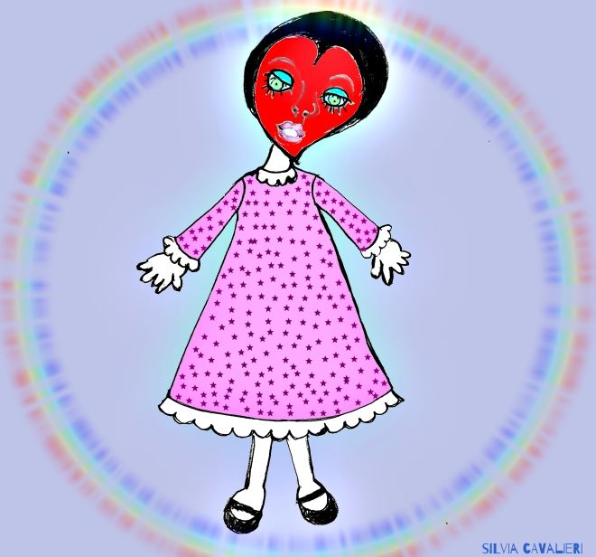 cuore in camicia con arcobaleno firmato