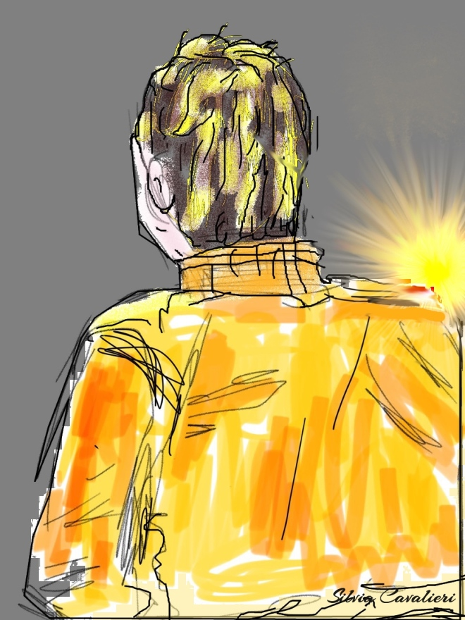 Visto di spalle al tramonto