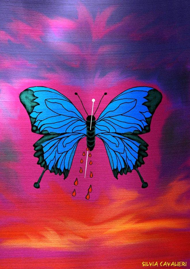 Farfalla spillonata insanguinata nel cielo dell'aurora