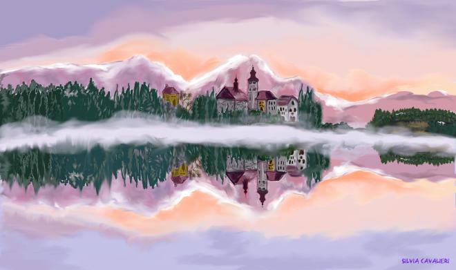 Tramonto invernale sul lago